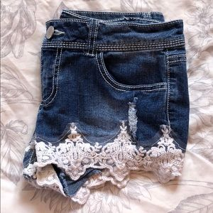 Jean Shorts with Lace Trimming